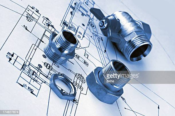A technical drawing of mechanical plumbing