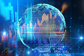 earth futuristic technology and financial stock market graph on technology abstract