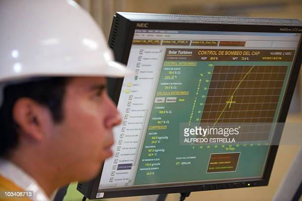 A technician at the controlroom of the Pemex KuS oil processing center part of the KuMaloob Zaap complex in the Gulf of Mexico off Ciudad del Carmen...
