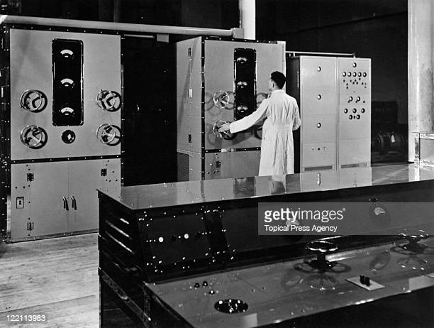 A technician at work at the Baird Television Radio transmitter at the BBC's first high definition television station at Alexandra Palace London 23rd...