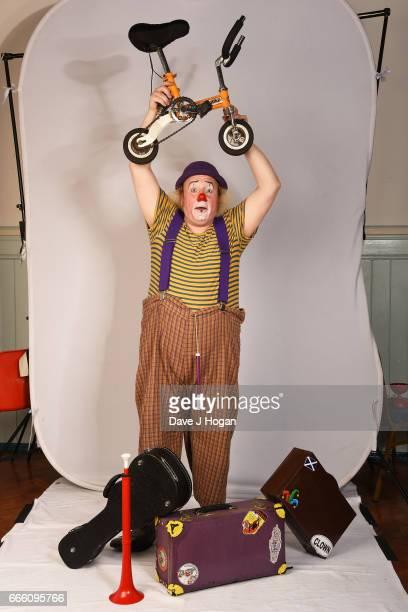 IT technician Ian Williams aka Clown Smartii Pants attends the International Clown Festival at the Jeneses Arts Centre on April 8 2017 in Bognor...