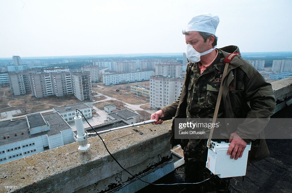 A technician measures the level of radioactivity on a building October 15, 2000 in Pripiat, Russia. The city, only three kilometers from the site of the Chernobyl nuclear plant accident, has been totally deserted since the accident. It''s 49,000 inhabitants had to move because of high levels of radioactivity. Some of the buildings in the city still radiate heat and are inhabited by contaminated rats.