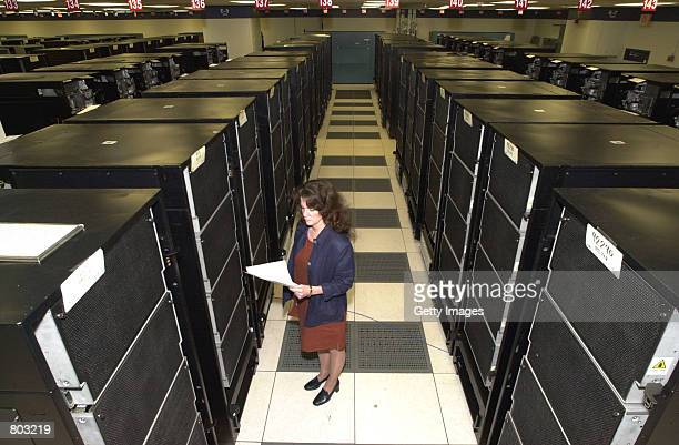 A technician monitors the ASCI White computer the fastest supercomputer in the world June 28 2000 in Poughkeepsie NY The computer which is capable of...