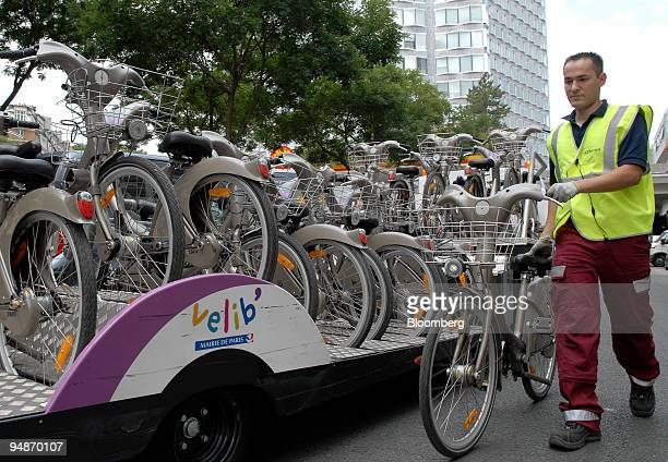 A technician working for Cyclocity which runs JCDecaux's Velib' rental bicycle program delivers repaired bicycles from a mechanic's workshop run from...