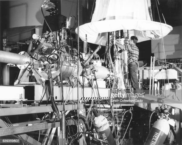 A technician works in the target area in the Stanford Linear Accelerator's End Station A California 1968 Image courtesy US Department of Energy