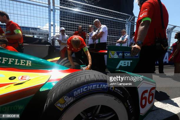 Technicians from Audi Sport ABT Schaeffler prepare on track during Formula E Qualcomm New York City ePrix on July 16 2017 in New York City
