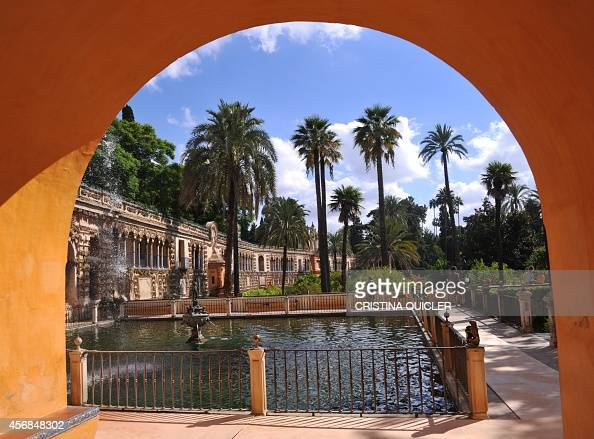 technicians prepare one of the sets for the fifth season of the series Game of Thrones at La Fuente de Mercurio in the Reales Alcazares in Sevilla on...