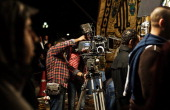 AWAD Technicians set up cameras on the set of 'Murafaa' soap opera at Media city on November 28 2013 in Cairo Egypt Shady political types police...