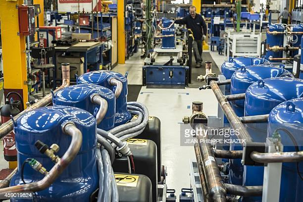 carrier air conditioning factory. technicians work on november 6 2014 in the heating air conditioning and ventilation carrier factory a