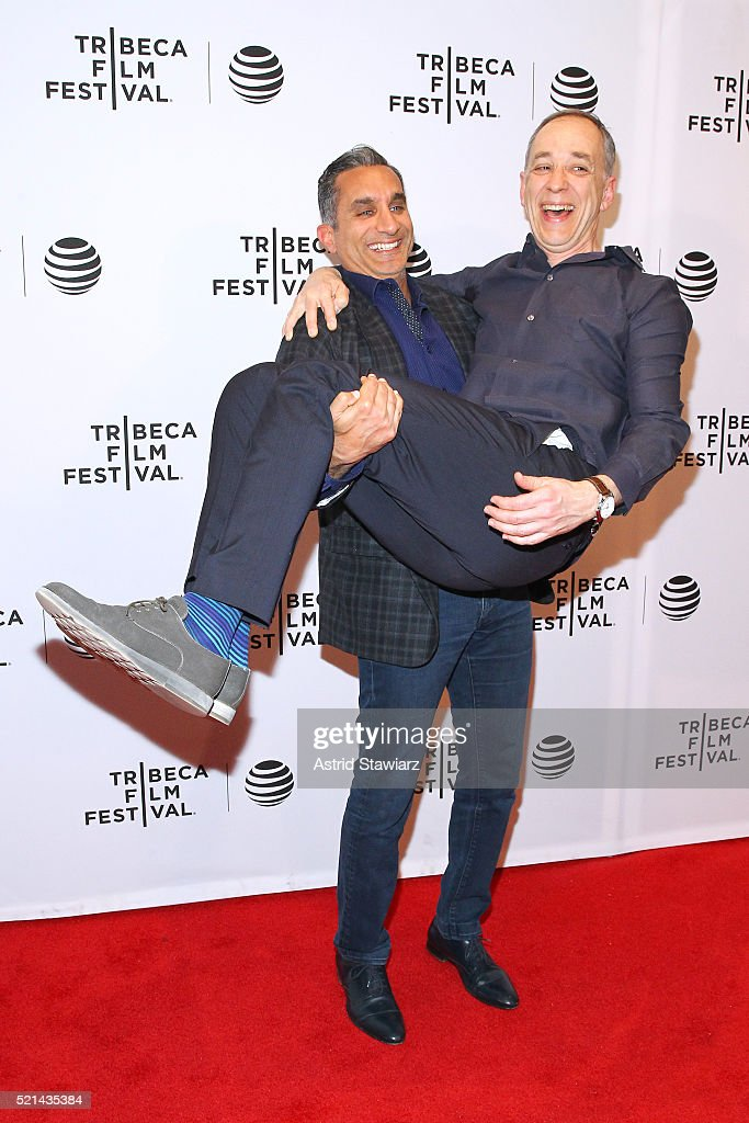 Technicolor CEO, producer Frederic Rose and <a gi-track='captionPersonalityLinkClicked' href=/galleries/search?phrase=Bassem+Youssef&family=editorial&specificpeople=9660617 ng-click='$event.stopPropagation()'>Bassem Youssef</a> attend 'Tickling Giants' Premiere - 2016 Tribeca Film Festival at Chelsea Bow Tie Cinemas on April 15, 2016 in New York City.