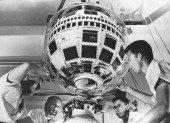 Technisians Work On Telstar The First Tv Satellite Before His Launch By Thor Delta Rocket On July 10Th 1962