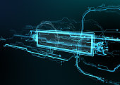 Technological background of futuristic lines and elements. Template for text. Abstract background. 3d illustration