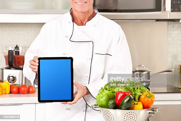 Technological Chef Showing Tablet PC