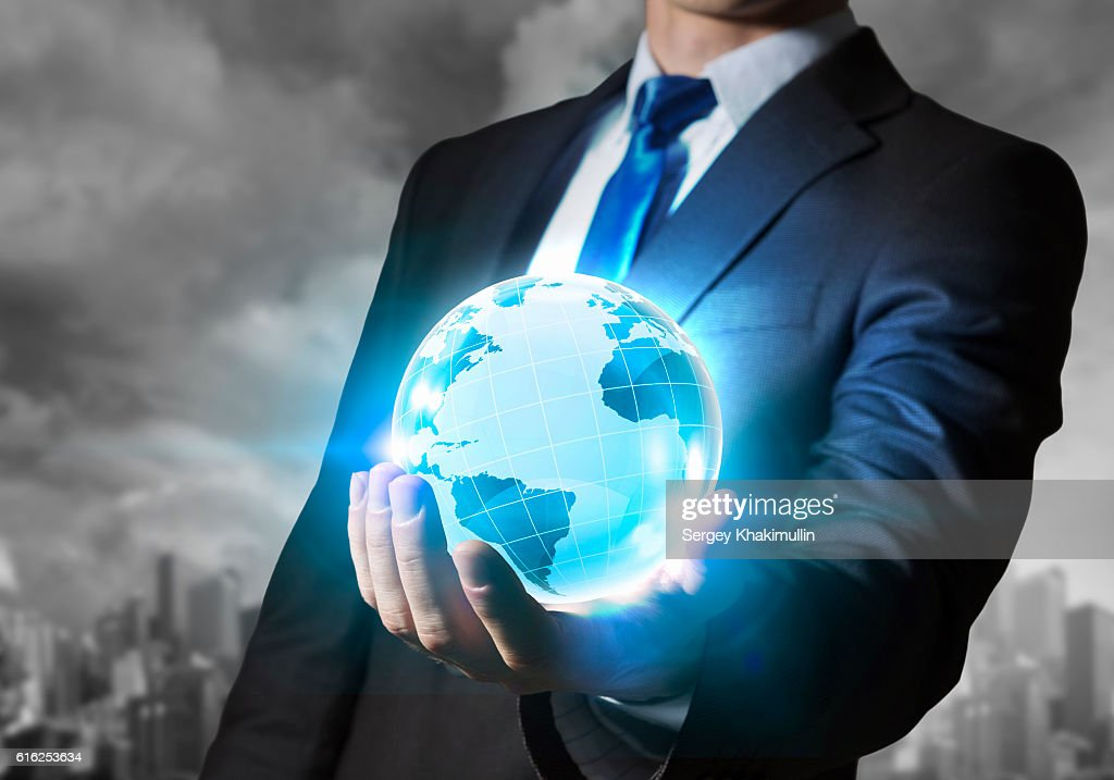 Technologies connecting the world . Mixed media : Stock Photo