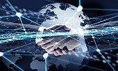 Business handshake against social network background. 3D rendering