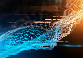 Complex technology network concept with big data and information visualized in polygons. 3D Illustration