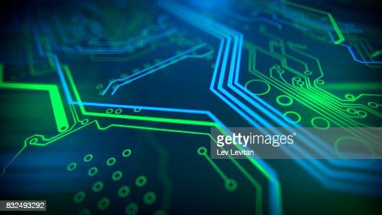 Technology background. Circuit board futuristic server code processing. : Stock Photo
