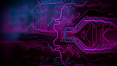 Blue, purple background with digital integrated network technology. Printed circuit board. Technology background. Neon. 3D illustration.