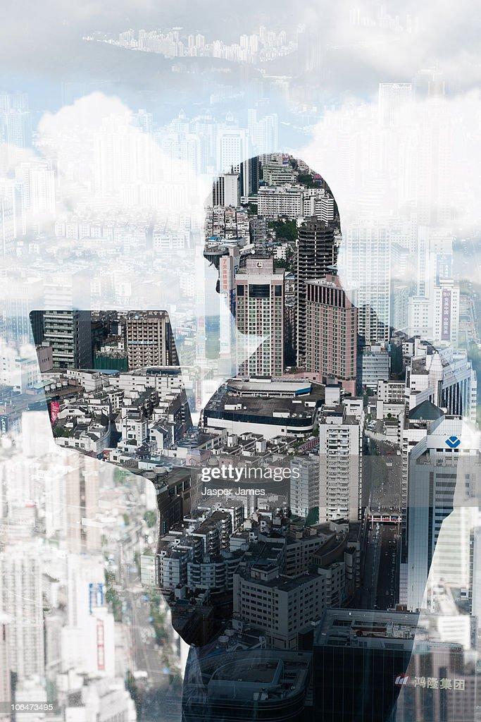 Technology city scape : Stock Photo
