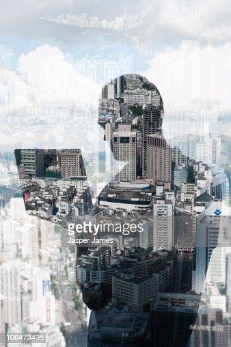 Technology city scape : Bildbanksbilder