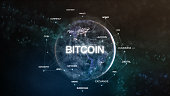 Technology earth from space word set with bitcoin in focus. Futuristic bitcoin cryptocurrency oriented words cloud 3D illustration. Crypto e-business keywords concept.