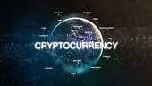 Technology earth from space word set with cryptocurrency in focus. Futuristic bitcoin crypto currency oriented words cloud 3D illustration. Crypto e-business keywords concept.