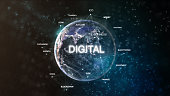 Technology earth from space word set with digital in focus. Futuristic bitcoin cryptocurrency oriented words cloud 3D illustration. Crypto e-business keywords concept.
