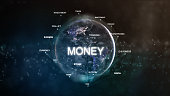 Technology earth from space word set with money in focus. Futuristic bitcoin cryptocurrency oriented words cloud 3D illustration. Crypto e-business keywords concept.