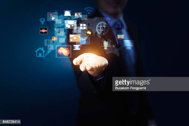 Technology in the hand holding business diagram, Modern wireless technology and social media illustration