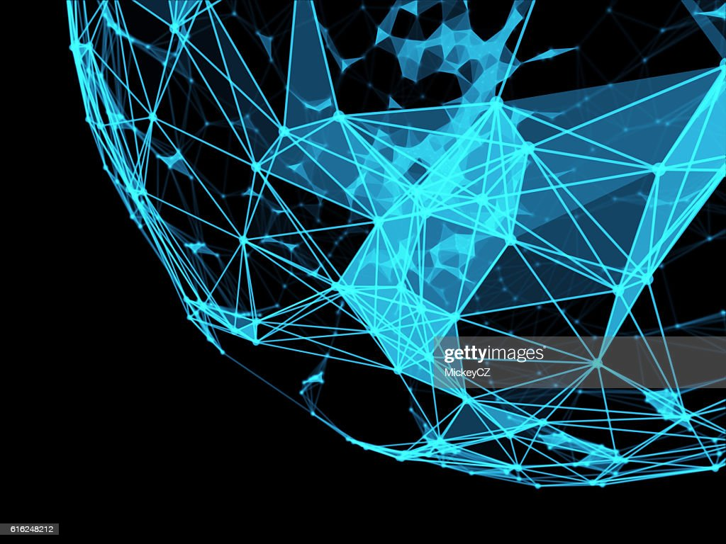 Technology triangle neurone design for internet connection : Stock Photo