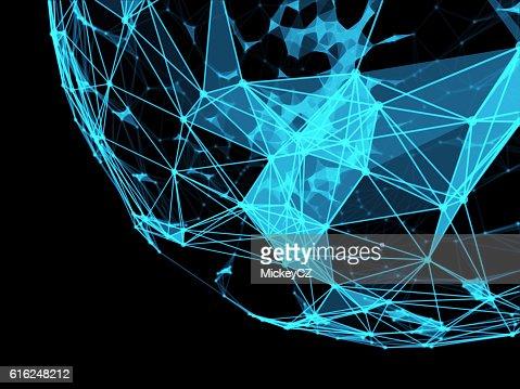 Technology triangle neurone design for internet connection : Foto de stock