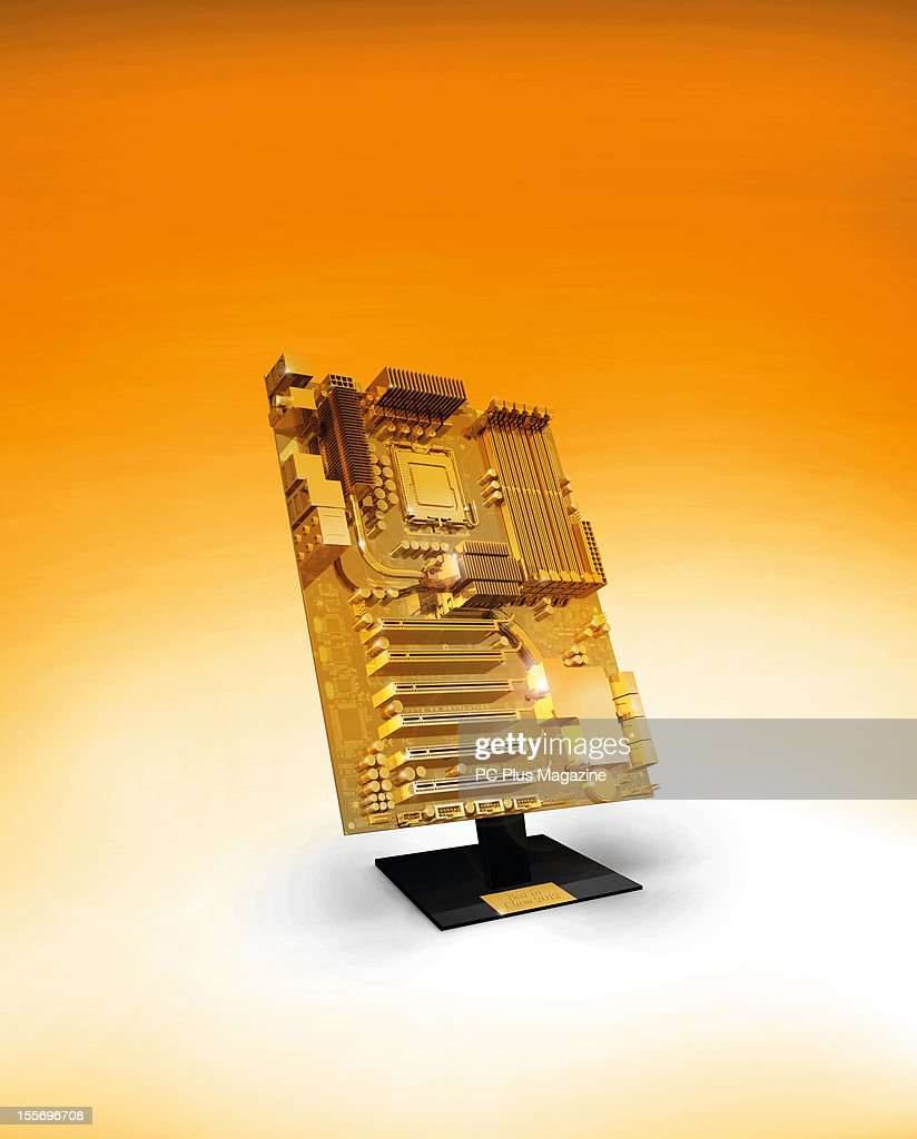 A technology trophy designed to look like a golden PC motherboard, created on June 11, 2012.