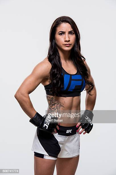 Tecia Torres of the United States poses for a portrait during a UFC portrait session at MGM Grand Garden Arena on December 8 2015 in Las Vegas Nevada