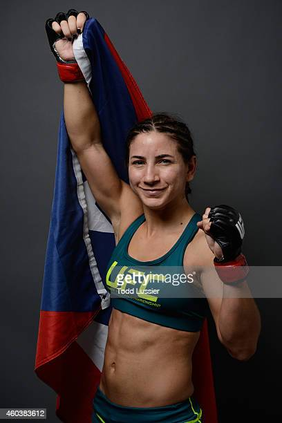 Tecia Torres poses for a postfight portrait backstage during The Ultimate Fighter Finale event inside the Pearl concert theater at the Palms Casino...