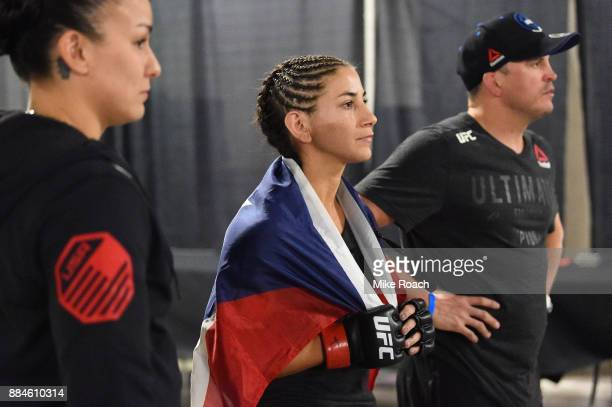Tecia Torres warms up backstage during the UFC 218 event inside Little Caesars Arena on December 02 2017 in Detroit Michigan