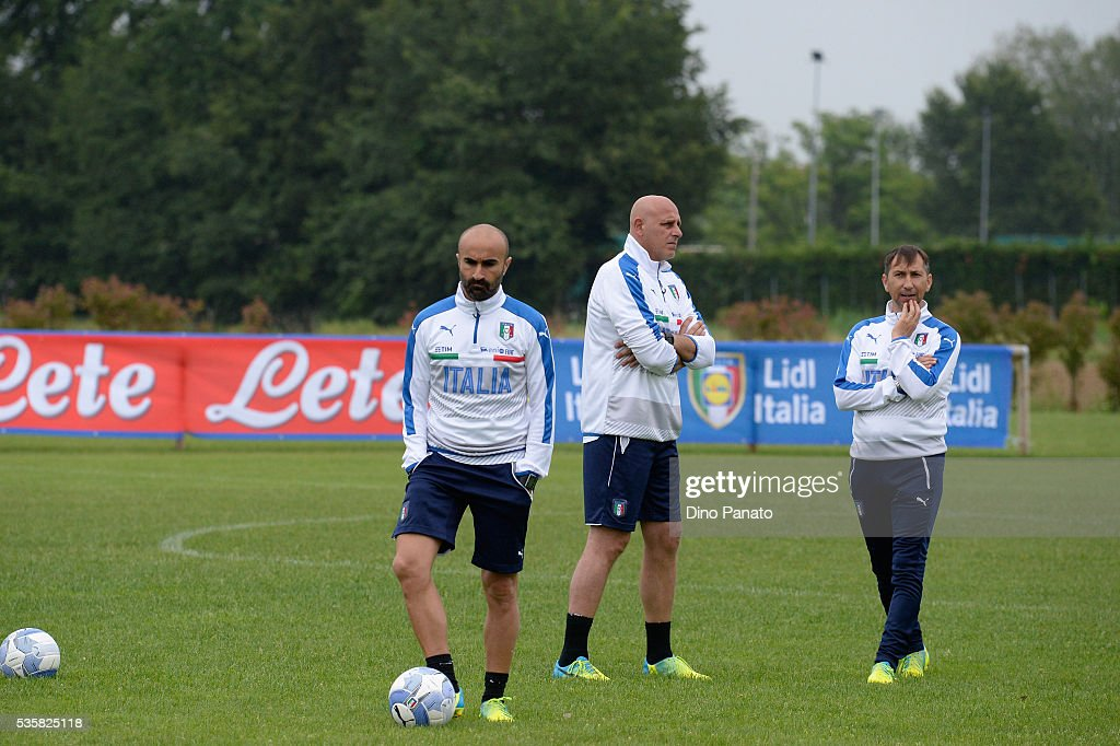 tecnical staff of Italy U21 during Training Session at stadio Comunale on May 30, 2016 in Mestre, Italy.