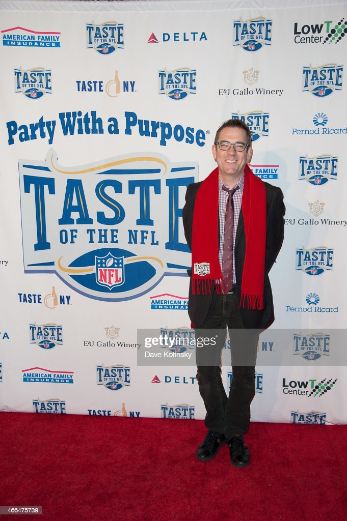 <a gi-track='captionPersonalityLinkClicked' href=/galleries/search?phrase=Ted+Allen&family=editorial&specificpeople=204146 ng-click='$event.stopPropagation()'>Ted Allen</a> arrives at the Taste Of The NFL 'Party With A Purpose' at Brooklyn Cruise Terminal on February 1, 2014 in New York City.