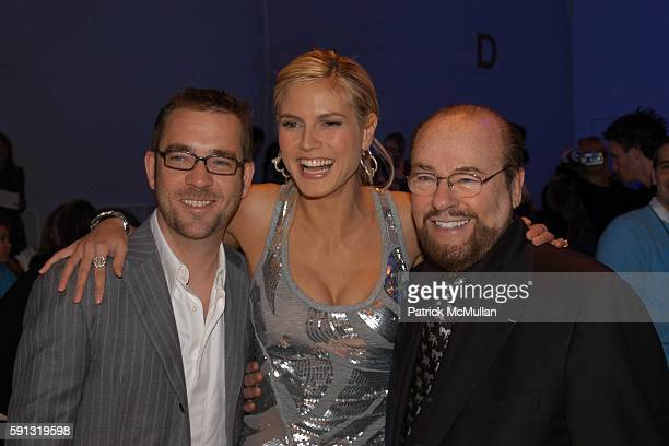 Ted Allen Heidi Klum and James Lipton attend Project Runway Fashion Show at The Plaza Tent at Bryant Park on February 4 2005 in New York City
