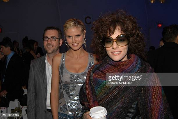 Ted Allen Heidi Klum and Parker Posey attend Project Runway Fashion Show at The Plaza Tent at Bryant Park on February 4 2005 in New York City