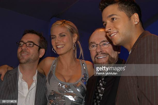 Ted Allen Heidi Klum James Lipton and Jai Rodriguez attend Project Runway Fashion Show at The Plaza Tent at Bryant Park on February 4 2005 in New...