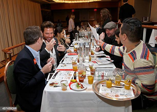 Ted Allen Scott Conant Marc Murphy Chris Santos Alex Guarnaschelli and Aaron Sanchez with Absolut Vodka and VOSS Artesian Water from Norway at...