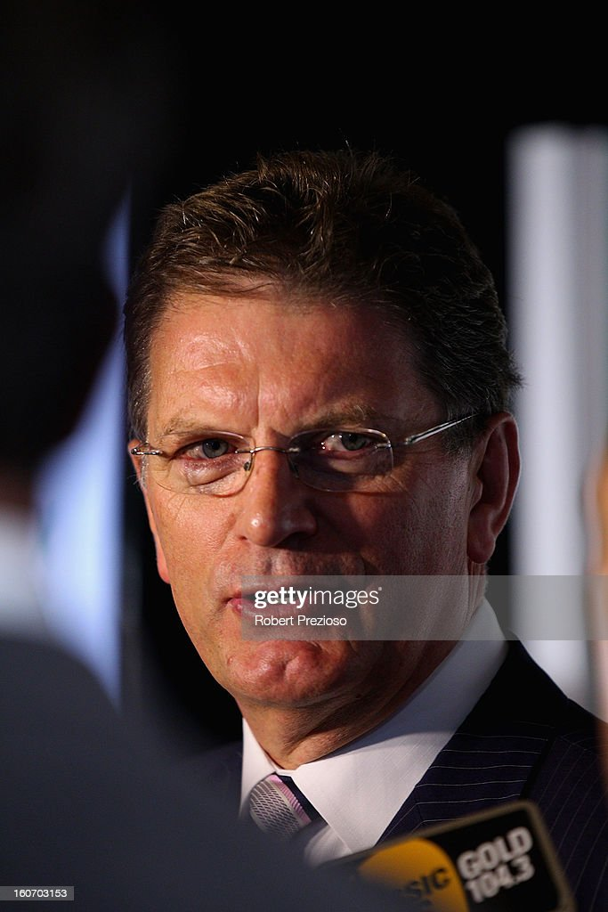 Ted Baillieu Victorian Premier speaks to the media during the 2013 Formula One Australian Grand Prix Launch on February 5, 2013 in Melbourne, Australia.