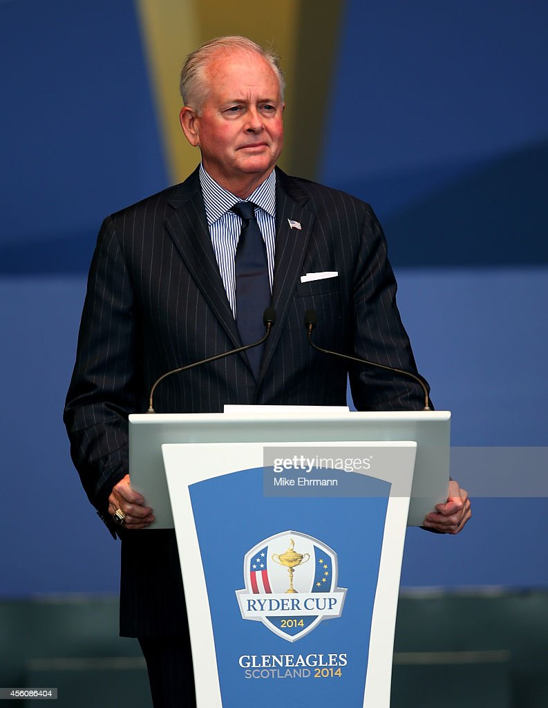 Ted Bishop PGA of America President speaks on stage during the Opening Ceremony ahead of the 40th Ryder Cup at Gleneagles on September 25 2014 in...