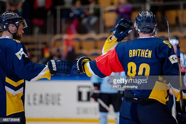 Ted Brithen of HV71 celebrates during the Champions Hockey League group stage game between HV71 Jonkoping and SonderjyskE Vojens on August 29 2015 in...