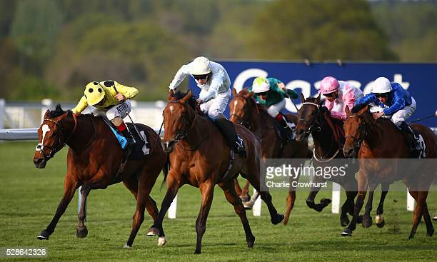 Ted Durcan rides Abingdon to win The Perfect Ten Maiden Fillies' Stakes at Ascot racecourse on May 06 2016 in Ascot England