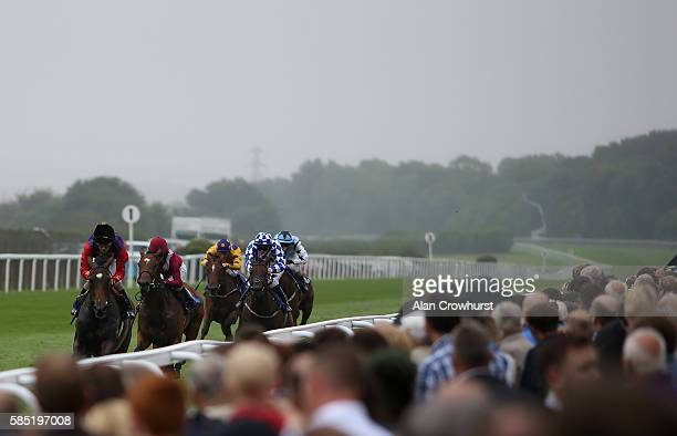 Ted Durcan riding Labyrinth win The CPA Scaffolding Maiden Filles' Stakes at Salisbury racecourse on August 02 2016 in Salisbury England