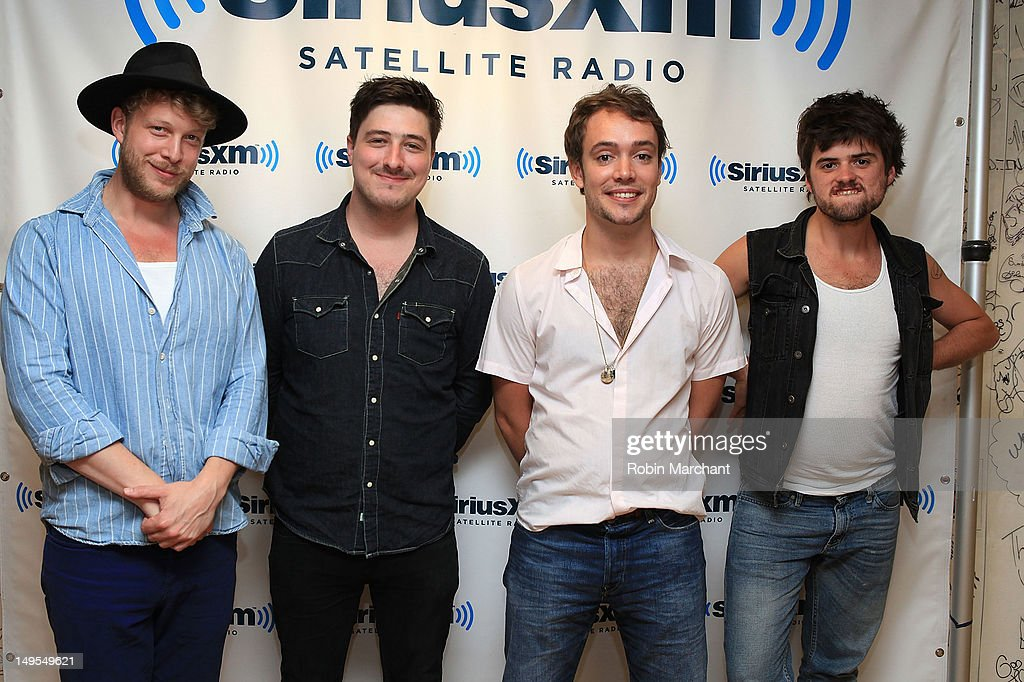 Ted Dwane Marcus Mumford Ben Lovett and Winston Marshall of Mumford Sons visit the Spectrum at SiriusXM Studio on July 30 2012 in New York City