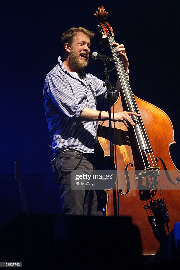 <a gi-track='captionPersonalityLinkClicked' href=/galleries/search?phrase=Ted+Dwane&family=editorial&specificpeople=5856816 ng-click='$event.stopPropagation()'>Ted Dwane</a> of Mumford And Sons performs at the Susquehanna Bank Center February 16, 2013 in Camden, New Jersey.