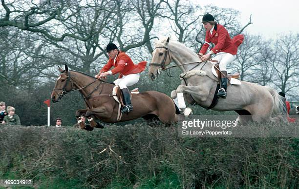 Ted Edgar and Nick Skelton of Great Britain in action during a Cross Coutry Event in Hickstead West Sussex on 16th April 1976