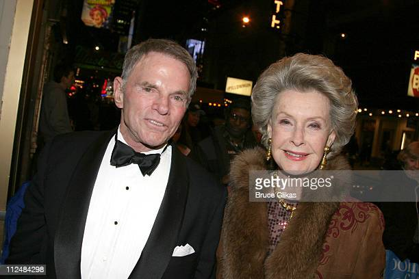Ted Hartley and wife Dina Merrill producers during 'Dirty Rotten Scoundrels' Broadway Opening Night at The Imperial Theater in New York City New York...